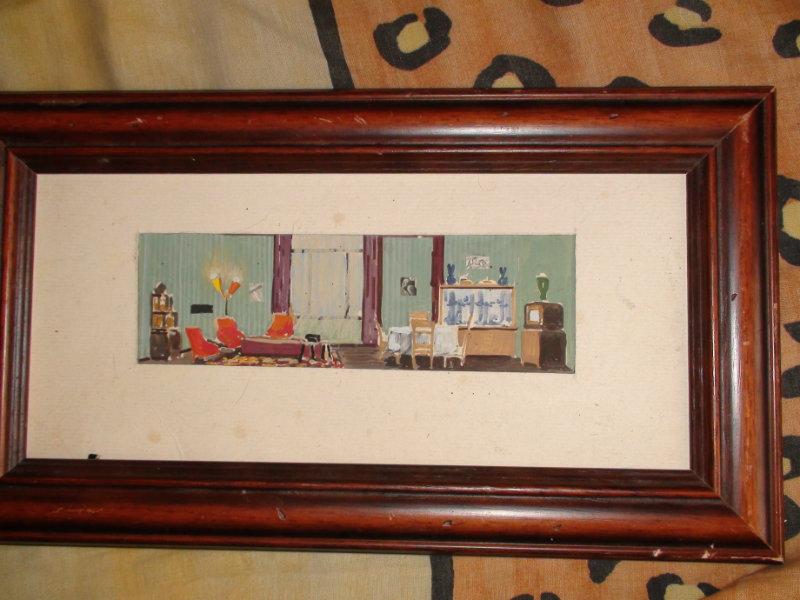 Продам картина акварель Интерьер 60-х