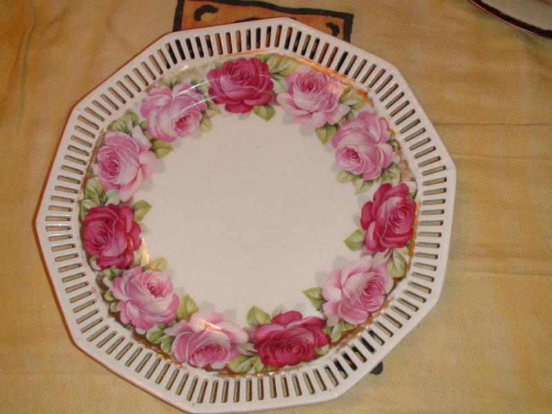 Продам 19в тарелка с розами и решоткой