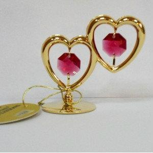 Продам Два рубиновых сердца с золотом 24К