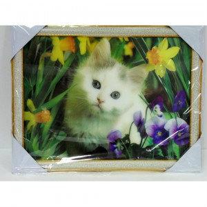 Продам: Объёмная 3D картина Котёнок и цветы
