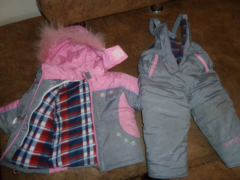 Продам комплект зимний на девочку р.80-90