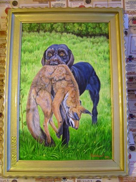 Продам картина маслом тема охота