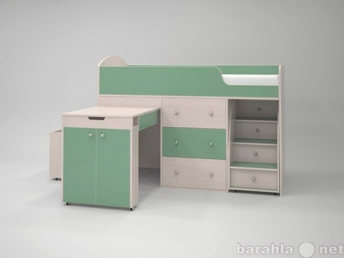 Продам Кровать-чердак Малыш дуб-зелёный