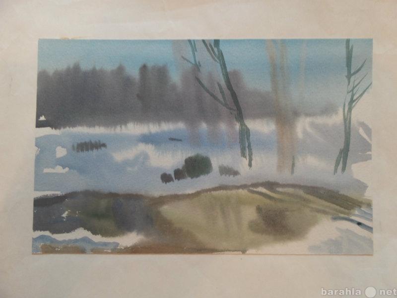 """Продам 1973г аквар. """"Туман"""" ТЮЛЕНЕВ В"""