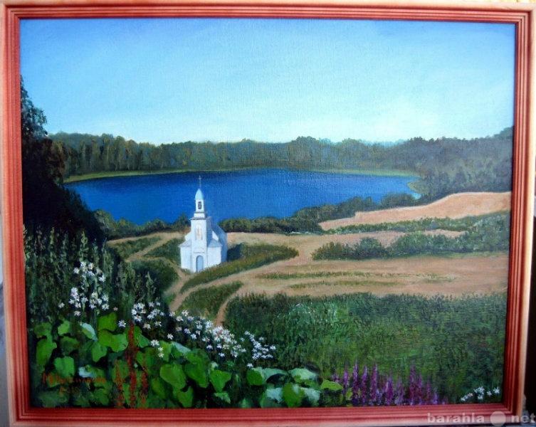 Продам картина маслом пейзаж с часовней