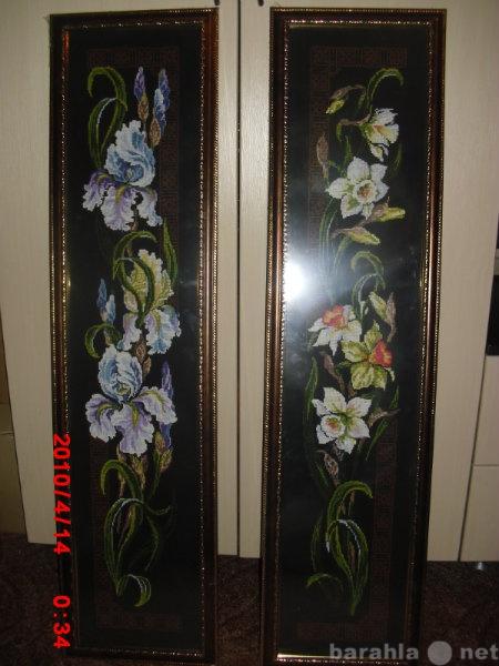 Продам Вышевка цветы на черной канве