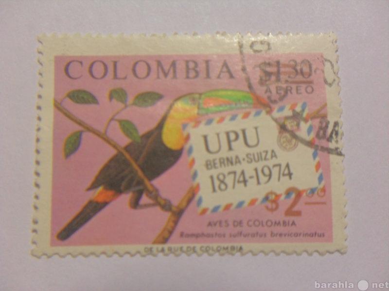 Продам Марка Colombia 1874-1974 UPU птицы